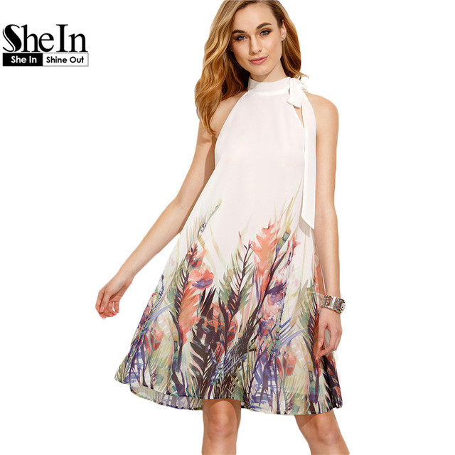 15ed31092e7 SheIn Casual Dresses For Woman Boho Dress New Summer Style Womens Beige  Print Bow High Neck