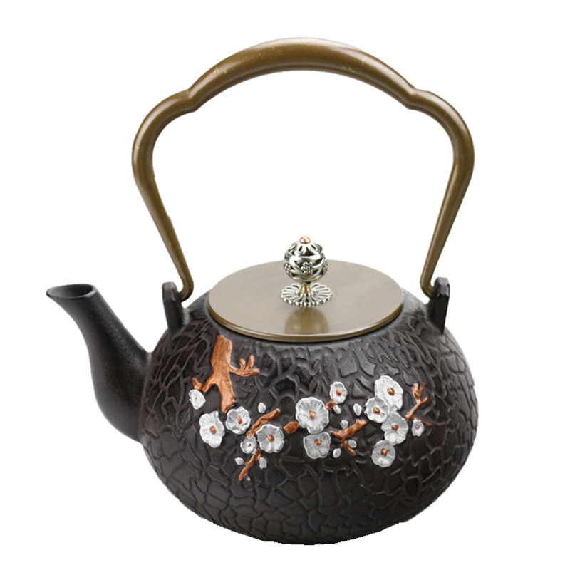 Drinkware 1L South Japan Cast Iron Plum Teapot Kung Fu Kettle Creative Drinkware
