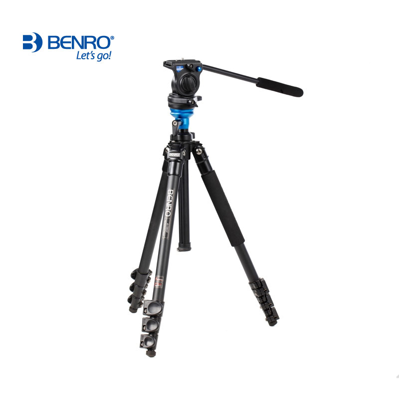 BENRO A1573FS2 Video Tripod Professional Aluminum Camera Tripods With S2 Video Head QR4 Plate Pan Bar Handle BS03 Carry Bag benro s2 video head pan and tilt head for dslr video camera