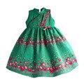 Estilo chino de loto flores Niñas Vestido de Fiesta Verde vestido de Traje para los niños de navidad niñas vestidos Ropa de Los Niños 3-8 T