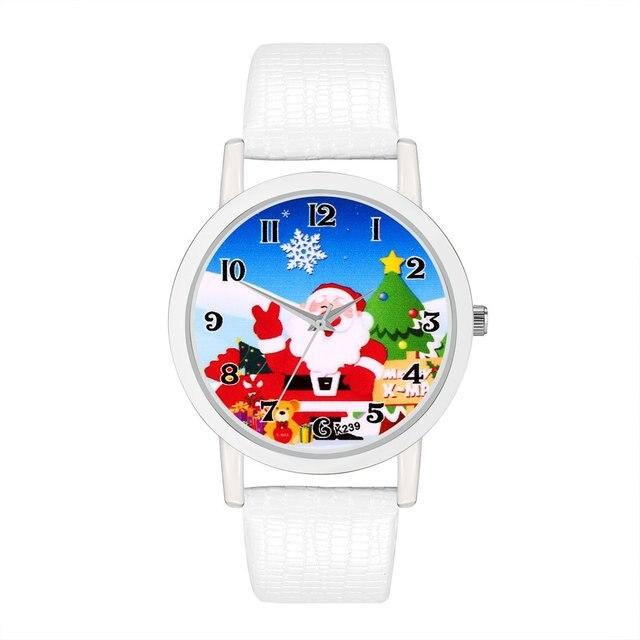 GENBOLI Women Bracelet Watches Santa Claus Dial Leather Kids Bracelet Quartz Wat
