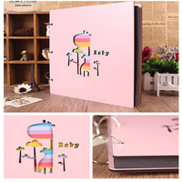 2018 Photo Albums 12inch Color Wood Cover Albums Handmade Loose-leaf Pasted Photo Album Personalized Baby Lovers DIY Photo Album