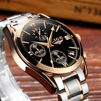 LIGE Men's Luxury Waterproof Chronograph Calendar Date Male Quartz Watches 3
