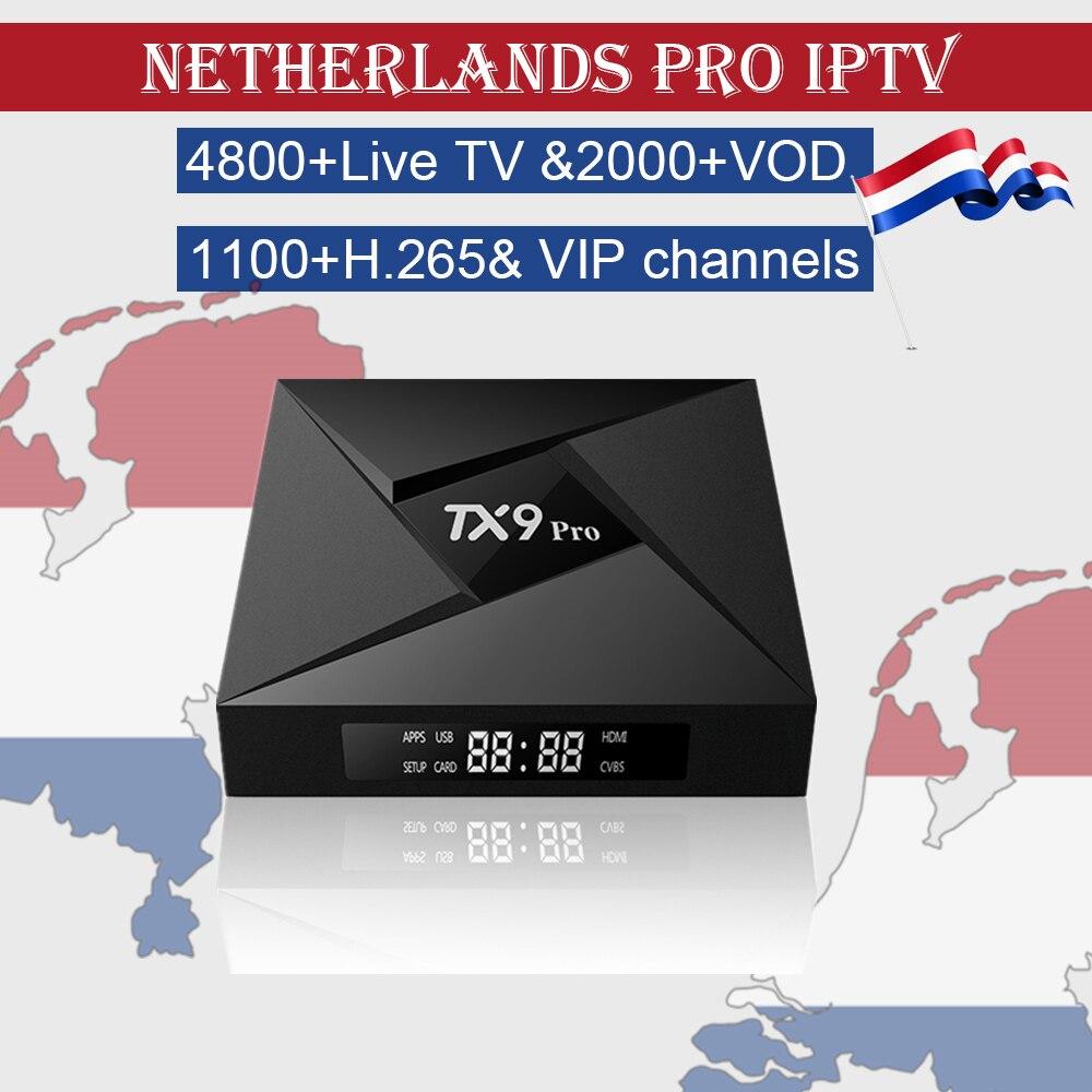 Netherlands IPTV Box TX9 Pro Android 7 1 3GB 32G 4K UHD Smart TV Box World