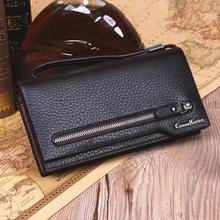 Large Capacity Man Long Organizer Wallets with Hand Strap Zipper Pocket Card Holder Coin Purse Leather Man Money Bag Wallet