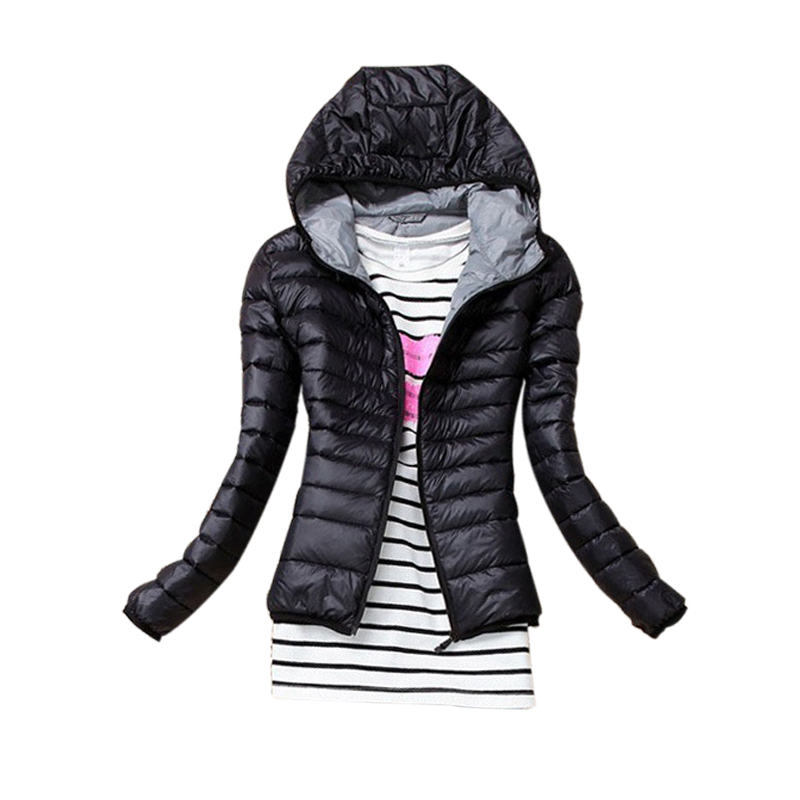 Nice Autumn Winter Women   Basic     Jacket   Coat Female Slim Hooded Brand New Cotton Coats Casual Black   Jackets