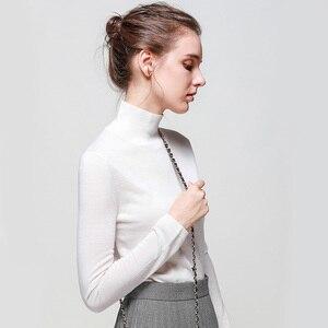Image 3 - 여성 양모 풀오버 100% 울 스웨터 여성용 터틀넥 플랫 니트 2019 가을 겨울 bottoming 스웨터