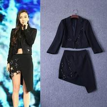 New Hot Sale Coat Suit Skirt Autumn 2016 Women Appliques Star Beads Black Coat+Asymmetrical Sexy Skirt(1Set)2 Pieces Blazer Suit