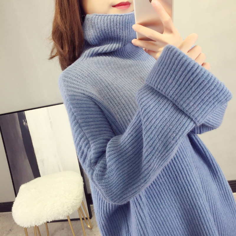 2019 spring new turtleneck thicken women sweaters and pullovers knitted loose lady elegant warm pulls outwear coat tops