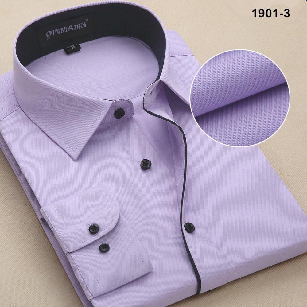 Новое поступление, весенняя и осенняя мужская брендовая одежда, одноцветная мужская приталенная рубашка с длинным рукавом, мужские рубашки, деловые рубашки - Цвет: 19013