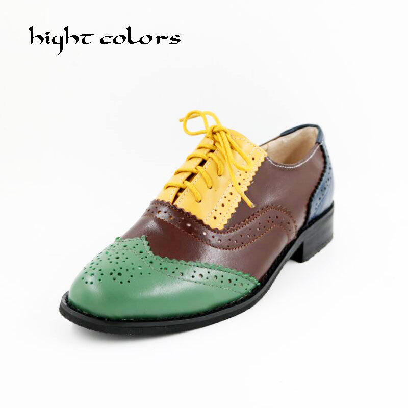 Hight Colors 2017 Genuine Leather Shoes Women Brogues Oxfords Flat Heels Round Toe Handmade Women Casual Shoes Plus Size 43 цены онлайн