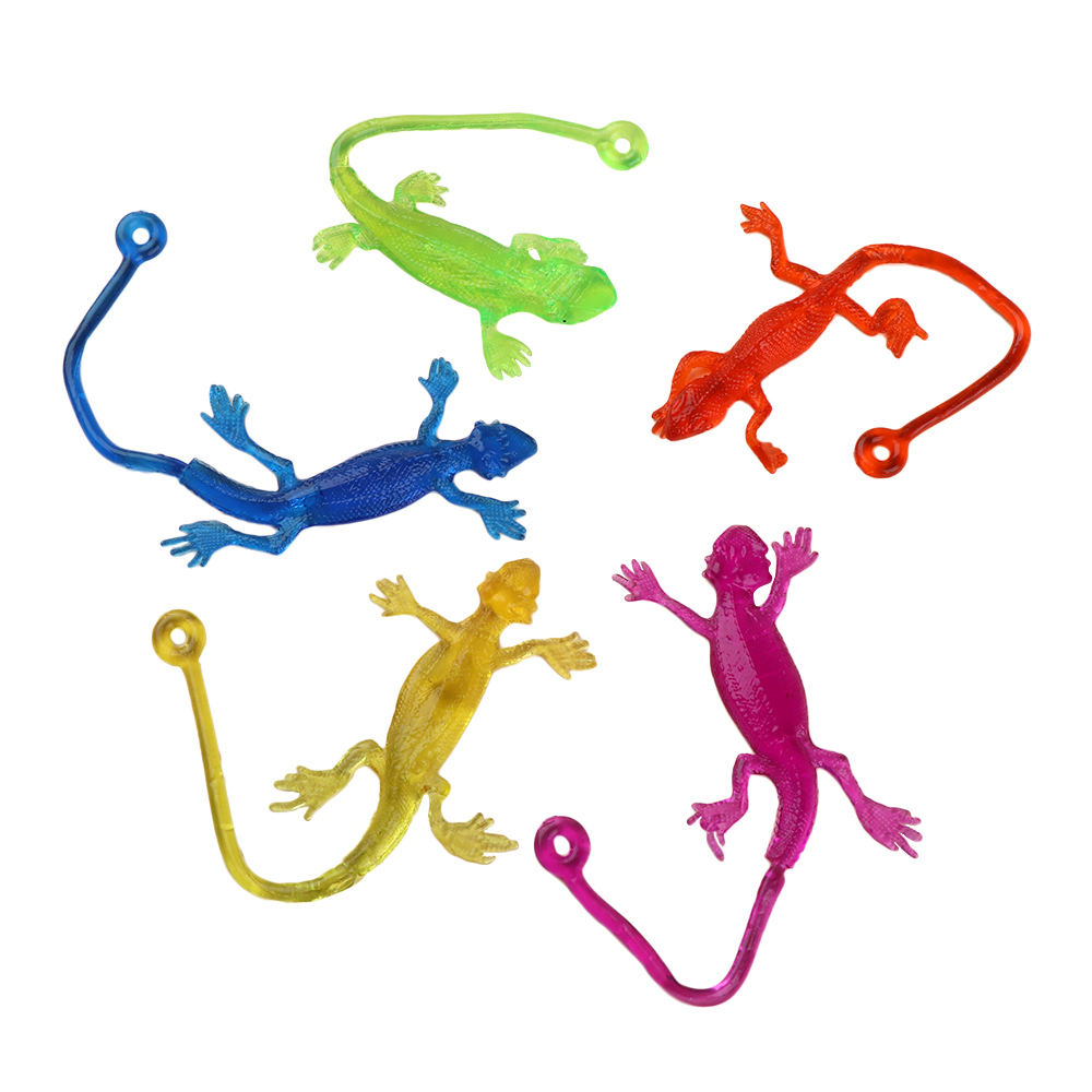 5Pcs/set New Arrival Novelty Sticky Lizard Animals Retractable Viscous Lizard Children Funny Gadgets Gag Toy Random Color