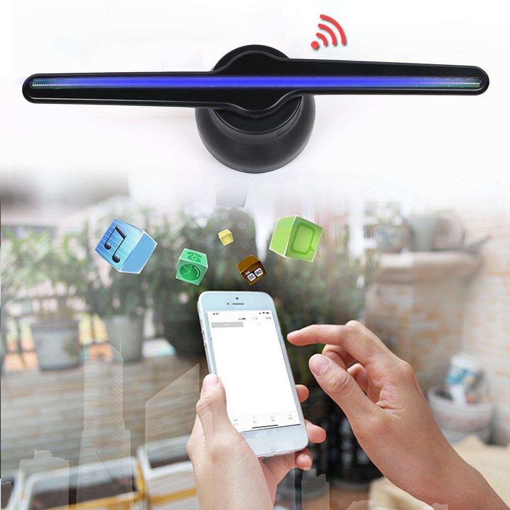 Nouveau WIFI connexion 3D hologramme publicité lichtbak affichage ventilateur LED holographique imagerie à l'œil nu ventilateur LED s publicité joueur
