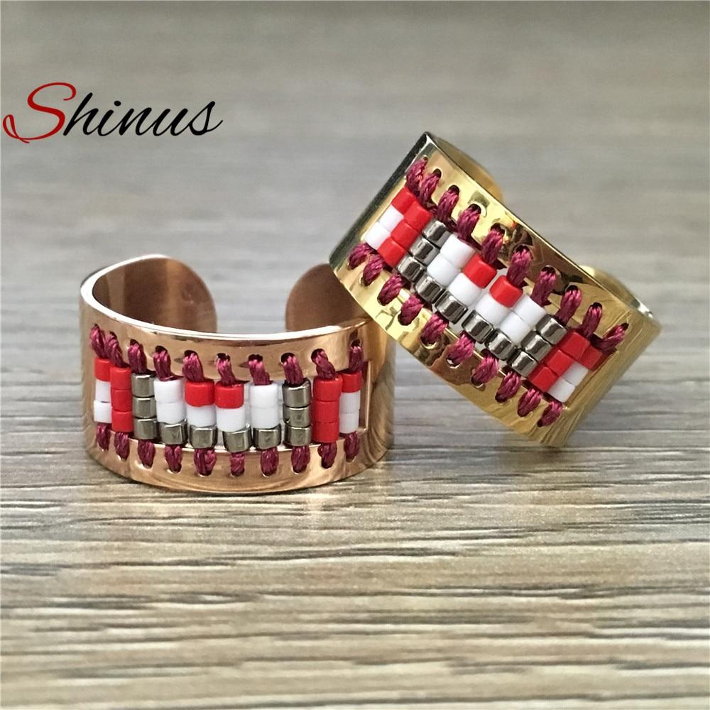 Shinus Ring Men Rings Women Love Bague Jewelry Handmade Weave Pattern Stainless Steel Anillos Miyuki Seed Beads Mens Womens Gift