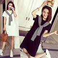 Korean style short sleeve tunic dress for maternity plus size casual dress patchwork striped tie pregnant women bow lacing dress