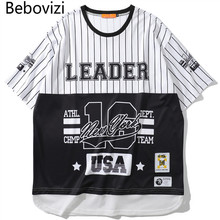 Bebovizi Mens Baseball Shirt Fashion Hip Hop Street Shirts Extended Curved Skateboard Trend Loose Clothes