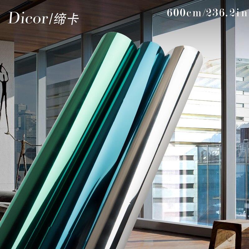 40/50/60*600CM Reflexivo Filme Espelho Filme Janela UV Etiqueta Auto Adesiva de Vidro de Transferência de Calor vidro vinil Adesivos 236.2in/roll