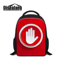 Dispalang Red Style Small Backpack Hand Icons Pattern Kids School Bags For Kindergarten Girls Boys Mini