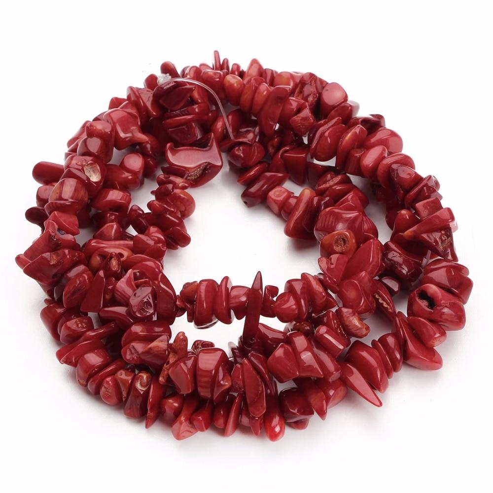 Conception de bijoux, 1 brin, 5-8mm, env. 80cm, naturel irrégulier, perles de corail rouge pour femmes, conception de bracelets, collection collier à faire soi-même