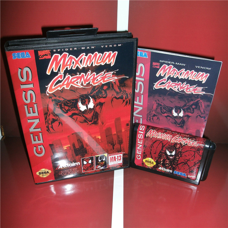 Spider Maximum Carnage Us Cover With Box And Manual For Sega
