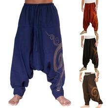 Pantaloni stile harem In Cotone E Lino Festival Baggy Boho Pantaloni  Pantaloni degli uomini Retro Gypsy 15fd9b038d19