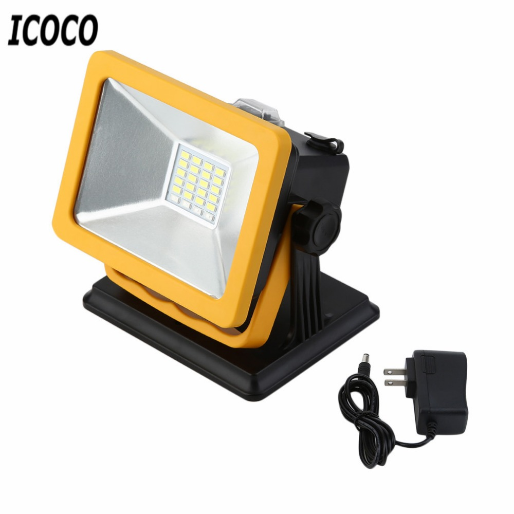 ICOCO Rechargeable IP65 LED Flood Light 15W Waterproof Portable LED Spotlights Outdoor Work Emergency Camping Work Light