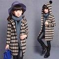 Invierno Moda Chicas Chaquetas Abrigos Plaids Hoodie Chica Chaqueta de Abrigo Niños Ropa Para Niños Con Capucha Zanja Princesa del Otoño prendas de Vestir Exteriores