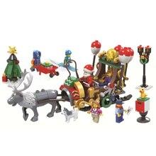 Новые рождественские наборы Санта лего 221 шт Рождественские сани олень Diy Строительный блок Набор Санта подарок для девочек игрушки