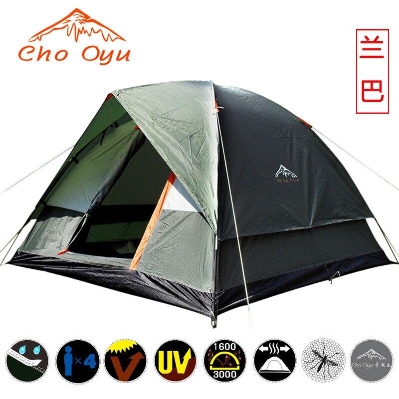 CHOOYU nouveauté 3-4 personne imperméable à l'eau coupe-vent Double couche Camping tente plage tente Barraca vente en gros et au détail