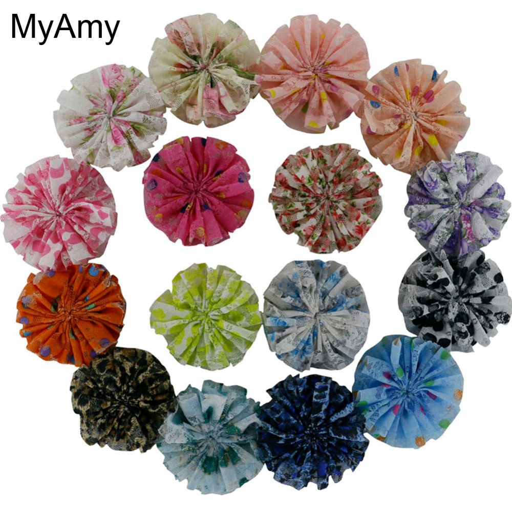 MyAmy wholesale 1000pcs/lot 3 handmade printed lace flowers girls artificial hair flowers hair accessories EMS Free Shipping