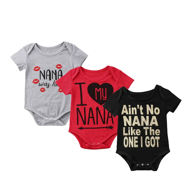 Newborn Baby Girl Boy Cotton Letter NANA Short Sleeve Bodysuits Baby Girl Boys Summer Clothes Jumpsuit