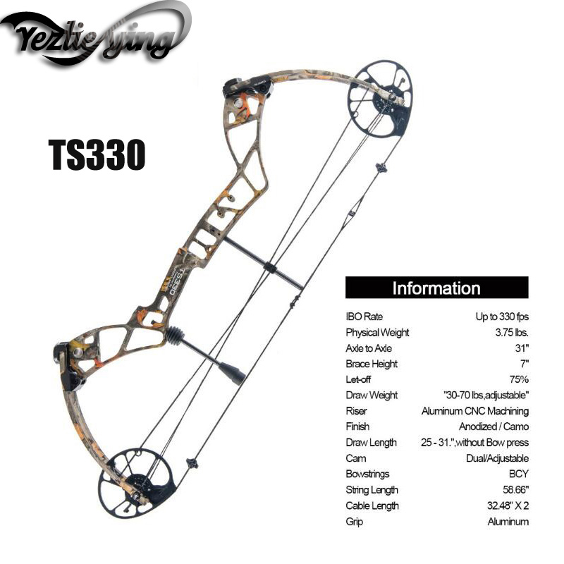 Outdoor Hunting Compound Bow Set TS330,25-31 Draw Length,30-70Lbs Draw Weight,330fps IBO Hunting Archery Accessories topoint archery compound bow package m1 19 30 draw length 19 70lbs draw weight 320fps ibo