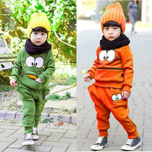 2PCS Baby Kids Smiling Face Hooded Hoodie Suit Cotton Fleeces Tracksuit for Boys/Girls Top + Pants FJ88