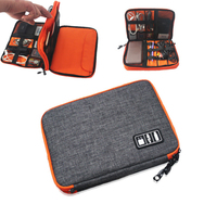 Waterproof Double Layer Cable Storage Bag Electronic Organizer Gadget Travel Bag USB Earphone Case Digital Organizador
