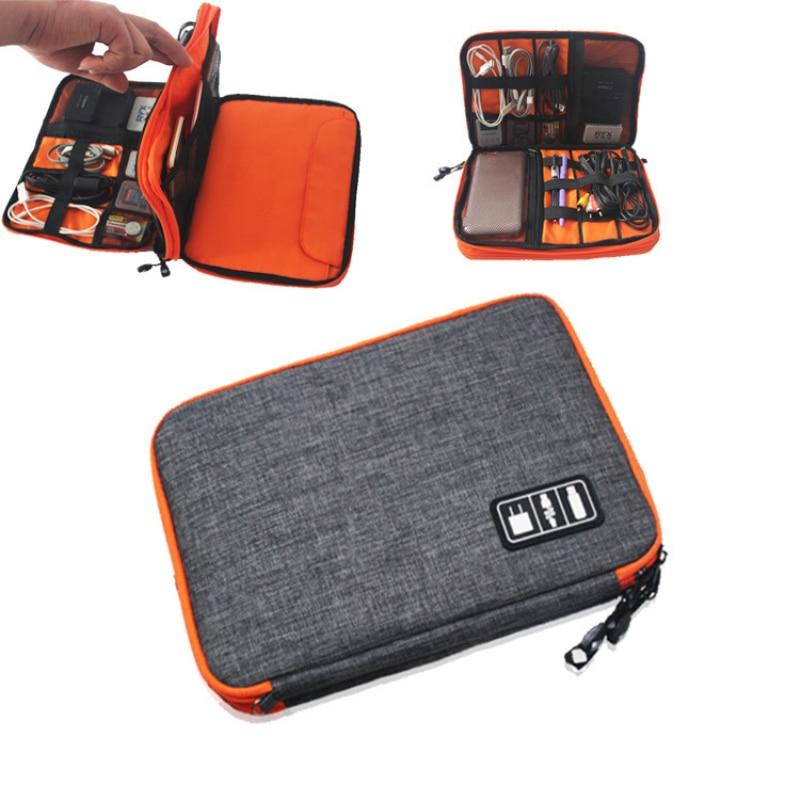Waterproof Double Layer Cable Storage Bag Electronic Organizer font b Gadget b font Travel Bag font