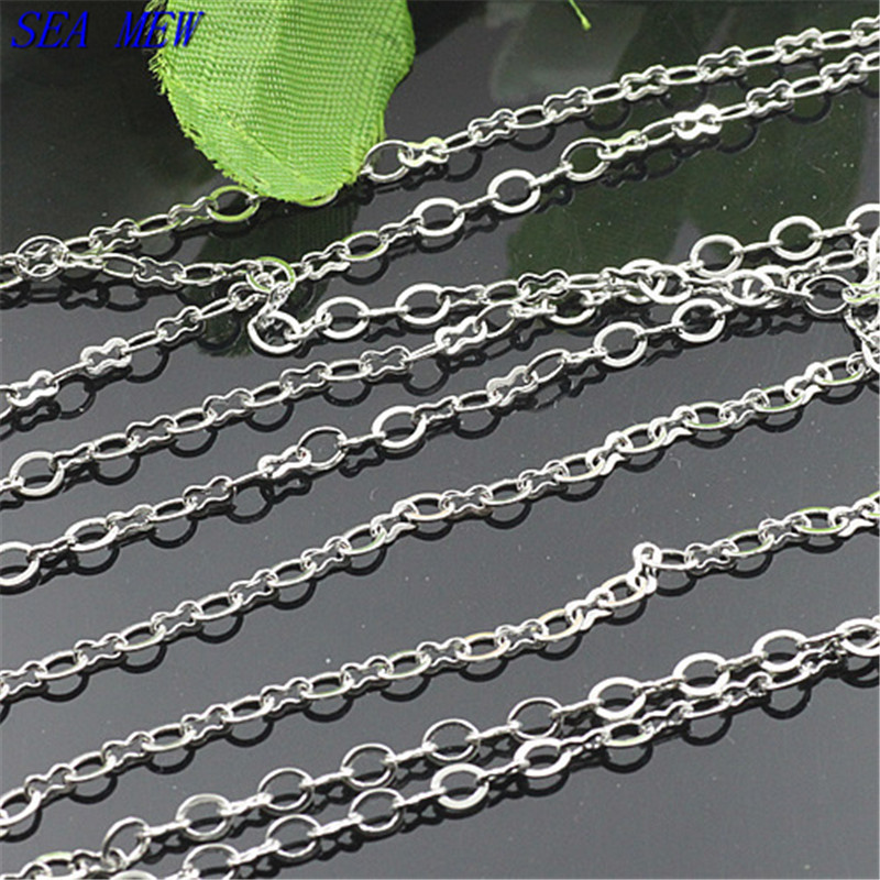 Fashion Style 4*3mm Copper Material Rhodium Color O Shape Chain Long Link Jewelry Accessary Chains