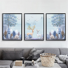 HAOCHU Nordic American Canvas Print Fairy Elk White Fantasy Forest Mural Painting Art Decorative Living Room Poster