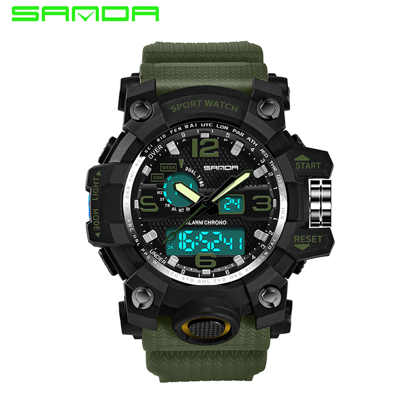 SANDA Luxury Brand Mens Sports Watches Dive Quartz Digital LED Military Watch Men Fashion Big Dial Watches relogio masculino 2pcs car cob leds daytime running bright light drl waterproof fog lamp u shape