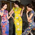 2016 primavera vestidos de boda chino tradicional qipao retro traje vestido floral del satén del estilo chino del cheongsam del vestido de boda