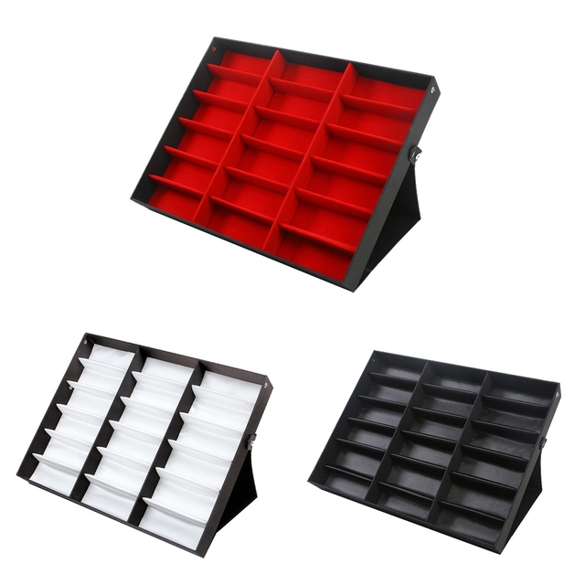 14f79cb2f5e56 18 Grid Sunglasses Storage Box Organizer Glasses Display Case Stand Holder  Eyewear Eyeglasses Box Sunglasses Case