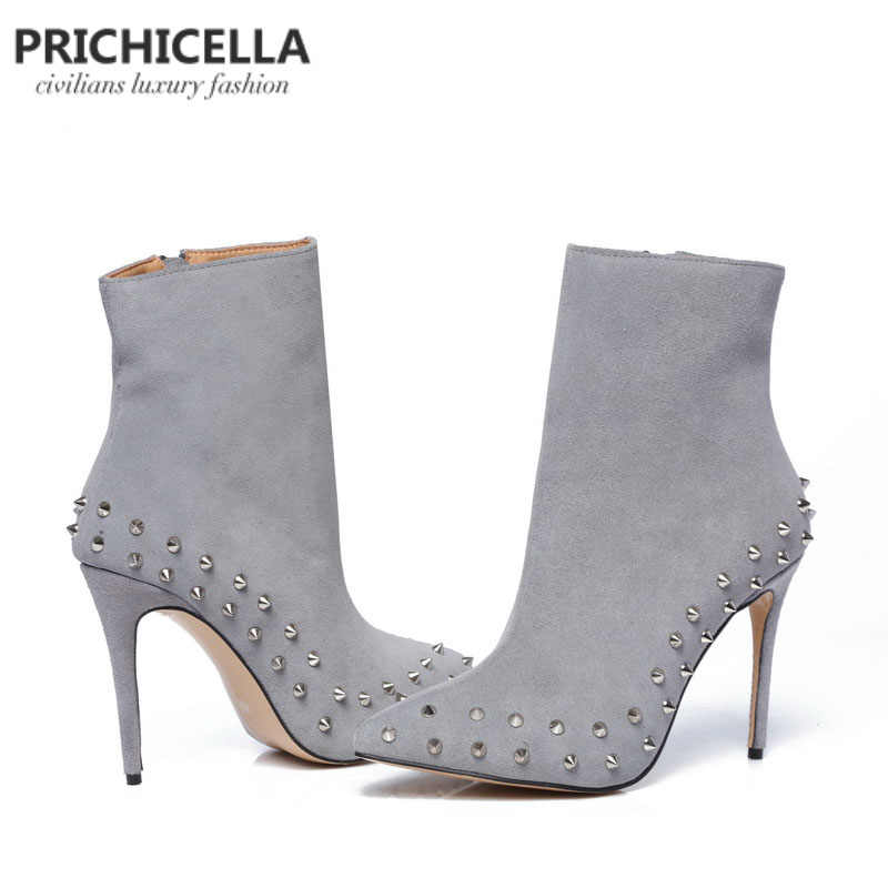 Prichicella натуральная кожа серые замшевые с острым носком с заклепками 10 см тонком каблуке Ботильоны size34-42