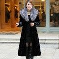 Luxury Genuine Real Piece Mink Fur Coat Jacket Fox Fur Collar Winter Women Fur Outerwear Coats Trench Overcoat 4XL 5XL X-Long