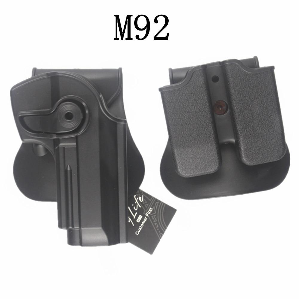 สไตล์ IMI สำหรับ B eretta 92/96 RH Pistol & Magazine Paddle Holster BK