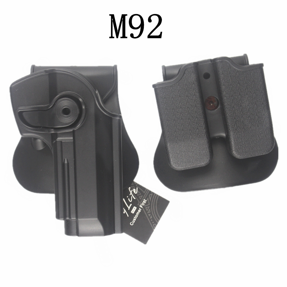 IMI Style for B eretta 92/96 RH Pistol & Magazine Paddle Holster BK