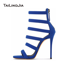 Sexy Blue Suede Strappy Sandal For Women Extreme High Heels Ladies Black Stiletto Party Evening Dress Summer Shoes Wholesale