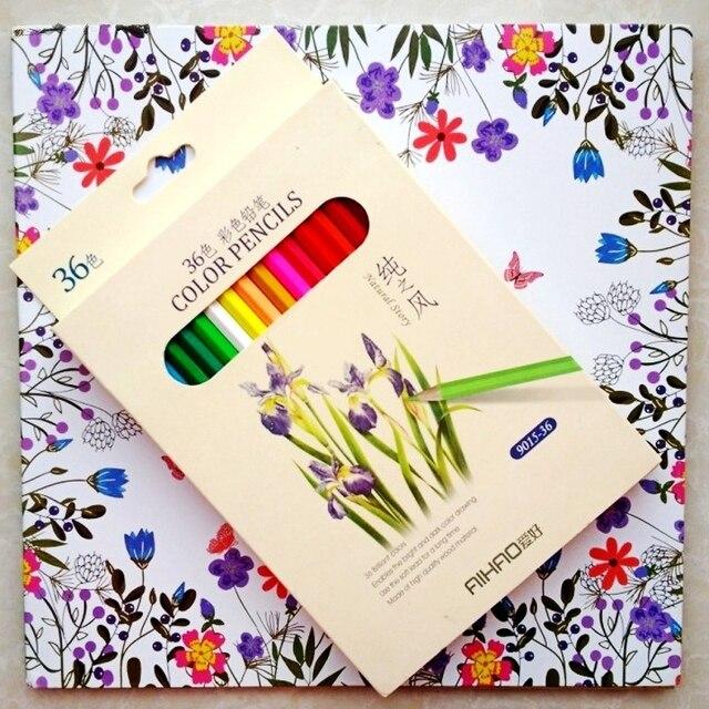 96 páginas friendly bosque colorear + 36 unids lápiz de color para ...