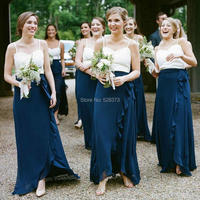 YNQNFS BD33 Custom Made New Elegant Chiffon Asymmetric Ruffles Skirt White/Navy Blue Bridesmaid Dresses