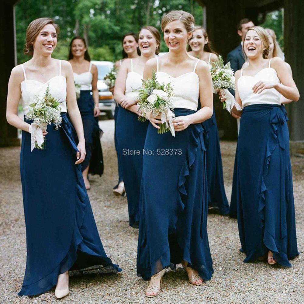 YNQNFS BD33 sur mesure nouvelle élégante jupe à volants asymétriques en mousseline de soie blanc/bleu marine robes de demoiselle d'honneur