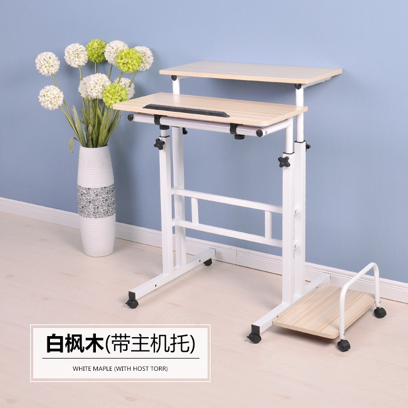 Free Lifting And Moving Sit-Stand Desk TV Mount Office Workstation Computer Table With Universal Wheel And Host Holder HY101
