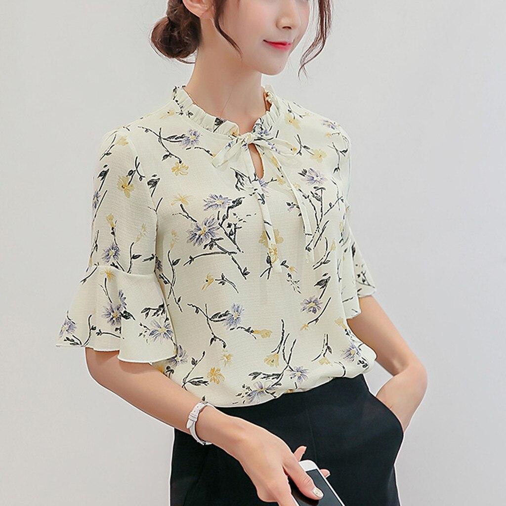 b7f7d2b92a4 Для женщин Шифоновая блузка 2019 Лето Элегантный цветочный круглым вырезом блуза  рубашка свободный повседневные топы